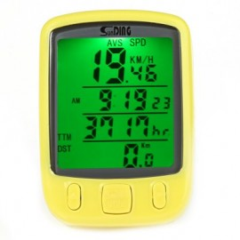 image of SUNDING SD - 563B OUTDOOR MULTIFUNCTION WATER RESISTANT CYCLING ODOMETER SPEEDOMETER LCD GREEN BACKLIGHT (YELLOW)