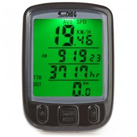 image of SUNDING SD - 563B OUTDOOR MULTIFUNCTION WATER RESISTANT CYCLING ODOMETER SPEEDOMETER LCD GREEN BACKLIGHT (BLACK)