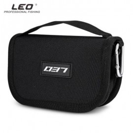 image of LEO PORTABLE FISHING LURE HOOK BAIT POUCH METAL SEQUIN BAG (BLACK) 0