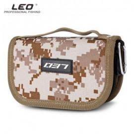 image of LEO PORTABLE FISHING LURE HOOK BAIT POUCH METAL SEQUIN BAG (DESERT CAMOUFLAGE) 0