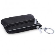 image of GUAPABIEN SOLID COLOR LEATHER ZIPPER HORIZONTAL COIN PURSE (BLACK) HORIZONTAL