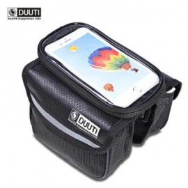 image of DUUTI WATER RESISTANT BICYCLE PHONE SCREEN FRONT TUBE BAG (BLACK)