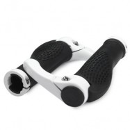 image of ERGONOMIC DESIGN RUBBER BICYCLE HANDLEBAR GRIPS ALUMINUM BAREND PROTECTOR (WHITE)