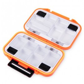 image of PORTABLE WATERPROOF 12 COMPARTMENTS STORAGE CASE FLY FISHING LURE SPOON HOOK BAIT TACKLE BOX (ORANGE) -