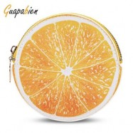 image of GUAPABIEN FUNNY WOMEN ZIPPER PU LEATHER FRUIT COIN PURSE (YELLOW) -