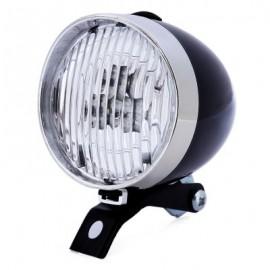 image of RETRO BICYCLE 3 LEDS FRONT LIGHT HEADLIGHT VINTAGE FLASHLIGHT LAMP (BLACK)