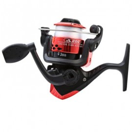 image of JL200 ELECTROPLATING FISHING SPINNING REEL FOLDING ARM 3-BALL BEARING 5.2/1 WITH TRANSPARENT FISHING WIRE (RED) -