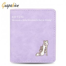 image of GUAPABIEN HIGH HEELED SHOES FLOWER LETTER RHINESTONE SOLID COLOR HASP SHORT WALLET FOR LADY (VIOLET) HORIZONTAL