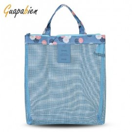 image of GUAPABIEN FLOWERS PATTERNS MESH TRAVEL WOMEN HANDBAG (AZURE) -