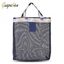 image of GUAPABIEN FLOWERS PATTERNS MESH TRAVEL WOMEN HANDBAG (DEEP BLUE) -
