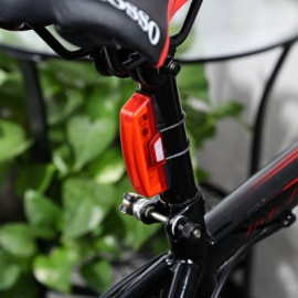 image of WATER RESISTANT 6-MODES USB RECHARGEABLE LED BIKE CYCLING TAIL LIGHT (RED)