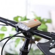 image of LIGHTWEIGHT BIKE LIGHT FRONT USB RECHARGEABLE TORCH WITH HORN (GOLDEN)