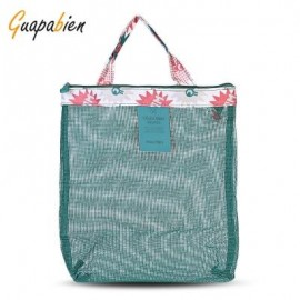image of GUAPABIEN FLOWERS PATTERNS MESH TRAVEL WOMEN HANDBAG (GREEN) -