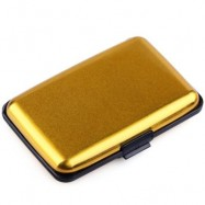 image of UNISEX SOLID PATTERN PLASTIC CARD WALLETS (GOLDEN) 2 x 7.1 x 10.8 cm