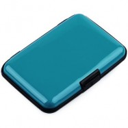 image of UNISEX SOLID PATTERN PLASTIC CARD WALLETS (LAKE BLUE) 2 x 7.1 x 10.8 cm
