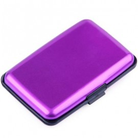 image of UNISEX SOLID PATTERN PLASTIC CARD WALLETS (PURPLE) 2 x 7.1 x 10.8 cm