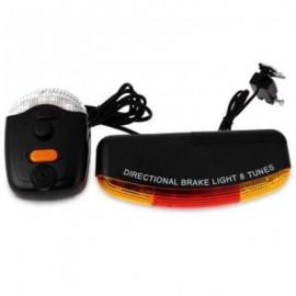 image of XC - 408 BICYCLE BIKE CYCLING 7 LED TURN NIGHT BRAKE LIGHT LAMP 8-SOUND HORN (BLACK)