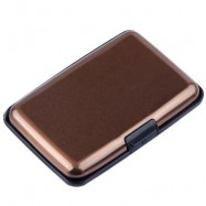 image of UNISEX SOLID PATTERN PLASTIC CARD WALLETS (BROWN) 2 x 7.1 x 10.8 cm