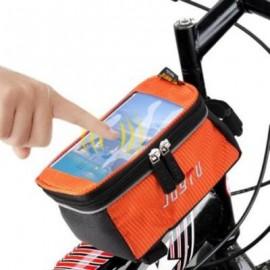 image of JOYTU BICYCLE 5.5 INCH TOUCH SCREEN PHONE SADDLE BAG (ORANGE)