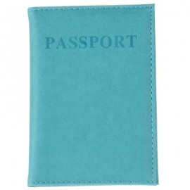 image of UNISEX SOLID LETTER EMBELLISHMENT LEATHER PASSPORT HOLDER (LIGHT BLUE) 0.6 x 10 x 14.2 cm