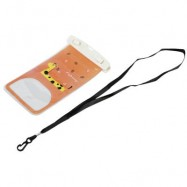 image of TOUCH SCREEN WATERPROOF PVC DIVING SWIMMING SURFING DRIFTING CELL PHONE POCKET (ORANGE) Giraffe And Leaf