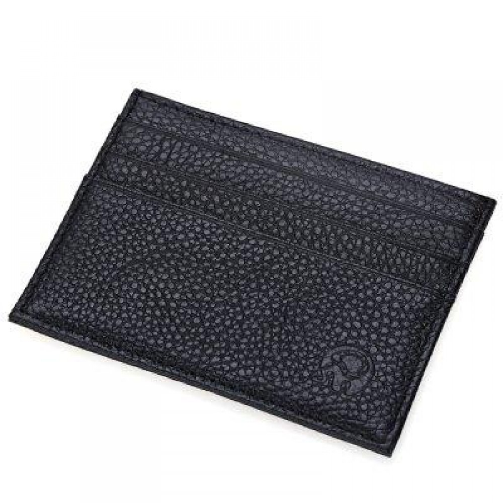 ROUND ELEPHANT LICHEE PATTERN SOLID COLOR OPEN HORIZONTAL CARD WALLET FOR MEN WOMEN (BLACK) HORIZONTAL