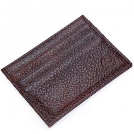 image of ROUND ELEPHANT LICHEE PATTERN SOLID COLOR OPEN HORIZONTAL CARD WALLET FOR MEN WOMEN (COFFEE) HORIZONTAL