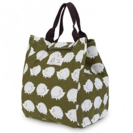 image of GUAPABIEN FLOWER PRINT HEAT PRESERVATION COLD INSULATION WATER RESISTANT CANVAS LUNCH BAG (GREEN) VERTICAL