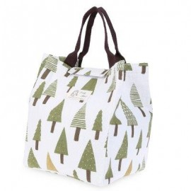 image of GUAPABIEN FLOWER PRINT HEAT PRESERVATION COLD INSULATION WATER RESISTANT CANVAS LUNCH BAG (WHITE) VERTICAL