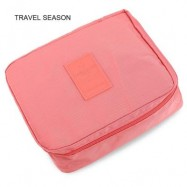 image of TRAVEL SEASON OUTDOOR TOILETRY MAKEUP COSMETIC STORAGE BAG (LIGHT PINK) -