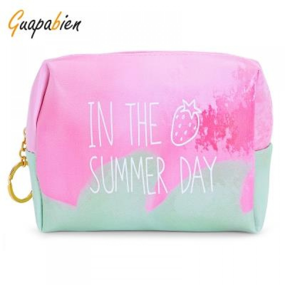 GUAPABIEN PRINTING TRAVEL WOMEN COSMETIC BAG MAKEUP POUCH (GREEN AND PINK)