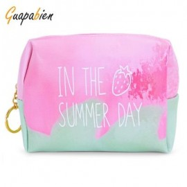 image of GUAPABIEN PRINTING TRAVEL WOMEN COSMETIC BAG MAKEUP POUCH (GREEN AND PINK)