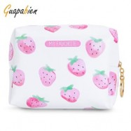 image of GUAPABIEN PRINTING TRAVEL WOMEN COSMETIC BAG MAKEUP POUCH (PINK AND WHITE) -