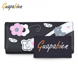 image of GUAPABIEN FOLDABLE LONG CLUTCH WALLET WOMEN CARD HOLDER (BLACK) -