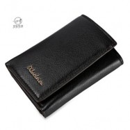 image of DIBAOLEIOU STYLISH PURE COLOR PHOTO CASH CARD HOLDER UNISEX SHORT WALLET (DARK COFFEE) -