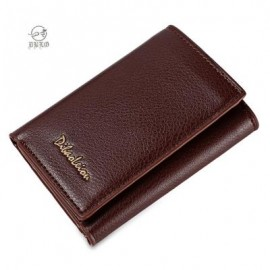 image of DIBAOLEIOU STYLISH PURE COLOR PHOTO CASH CARD HOLDER UNISEX SHORT WALLET (LIGHT COFFEE) -