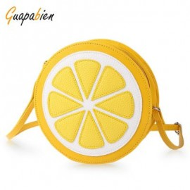 image of GUAPABIEN ROUND LEMON PATTERN ZIPPER CROSSBODY SHOULDER DUAL PURPOSE MINI BAGS FOR LADIES -