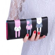 image of GUAPABIEN SWEET CAT SNAP FASTENER LONG HORIZONTAL WALLET FOR GIRL (BLACK) ??