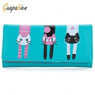 image of GUAPABIEN SWEET CAT SNAP FASTENER LONG HORIZONTAL WALLET FOR GIRL (BLUE) ??