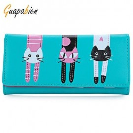 image of GUAPABIEN SWEET CAT SNAP FASTENER LONG HORIZONTAL WALLET FOR GIRL (BLUE) ??