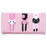 image of GUAPABIEN SWEET CAT SNAP FASTENER LONG HORIZONTAL WALLET FOR GIRL (PINK) ??