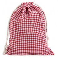 image of GRID TENSIBILITY ROPE HANDCRAFT COTTON BUGGY BAG FOR WOMEN (RED WITH WHITE, SIZE S/M/L) S