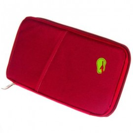 image of SOLID ZIPPER DESIGN MULTI FUNCTION CARD BAGS FOR MEN WOMEN (WINE RED) 2 x 13 x 24.5 cm