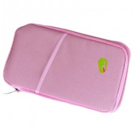 image of SOLID ZIPPER DESIGN MULTI FUNCTION CARD BAGS FOR MEN WOMEN (PINK) 2 x 13 x 24.5 cm