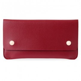 image of GUAPABIEN CONCISE DESIGN RIVET ELEMENT LEATHER LONG WALLET (RED) -