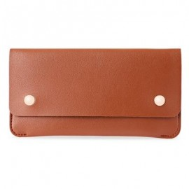 image of GUAPABIEN CONCISE DESIGN RIVET ELEMENT LEATHER LONG WALLET (BROWN) -