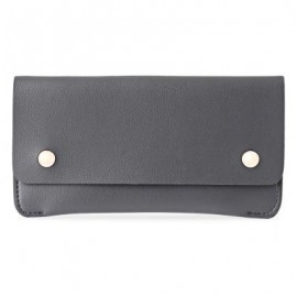 image of GUAPABIEN CONCISE DESIGN RIVET ELEMENT LEATHER LONG WALLET (GRAY) -
