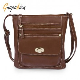 image of GUAPABIEN SOLID COLOR TURN LOCK ZIPPER VERTICAL DUAL PURPOSES SHOULDER MESSENGER BAG FOR WOMEN VERTICAL