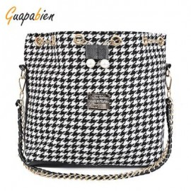 image of GUAPABIEN FAUX PEARL LETTER EMBELLISHMENT PRINT PATTERN BUCKET MULTI PURPOSE TOTE SHOULDER CROSSBODY BAG FOR LADY -