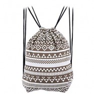 image of ETHNIC STRIPED GEOMETRIC PRINT ROPE CANVAS BACKPACK FOR WOMEN (BROWN) ???